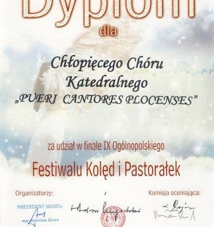 Dyplom Chóru Pueri et Puellae Cantores Plocenses